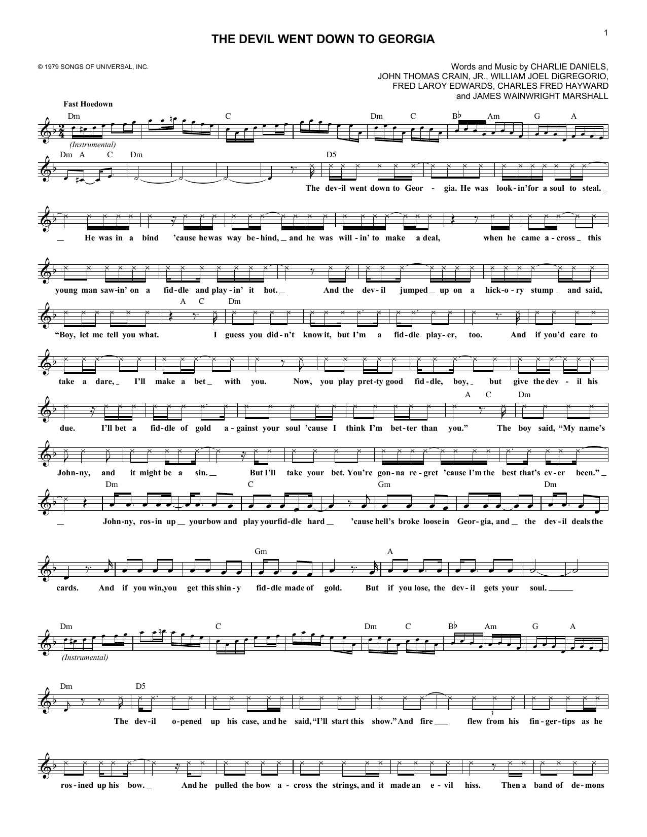 The Devil Went Down To Georgia (Lead Sheet / Fake Book)