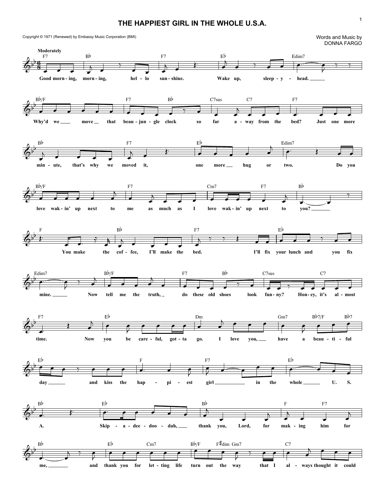The Happiest Girl In The Whole U.S.A. (Lead Sheet / Fake Book)