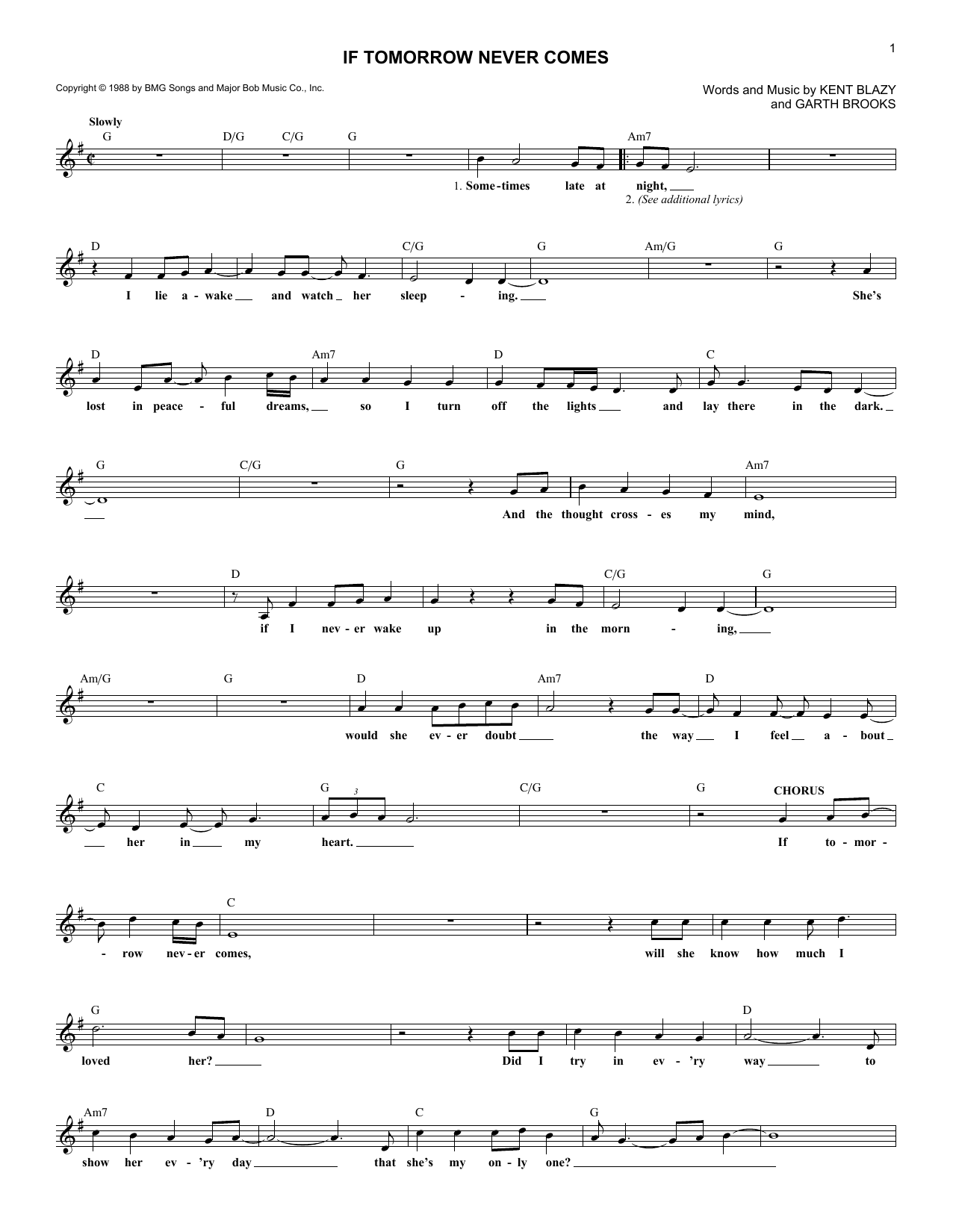 If Tomorrow Never Comes (Lead Sheet / Fake Book)