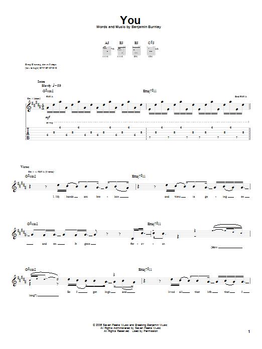 Tablature guitare You de Breaking Benjamin - Tablature Guitare