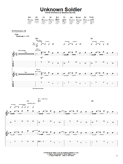 Tablature guitare Unknown Soldier de Breaking Benjamin - Tablature Guitare