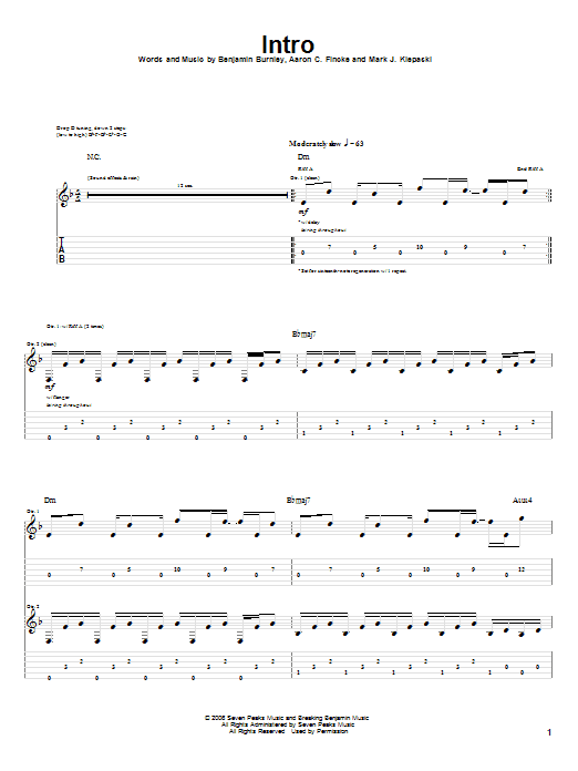 Tablature guitare Intro de Breaking Benjamin - Tablature Guitare