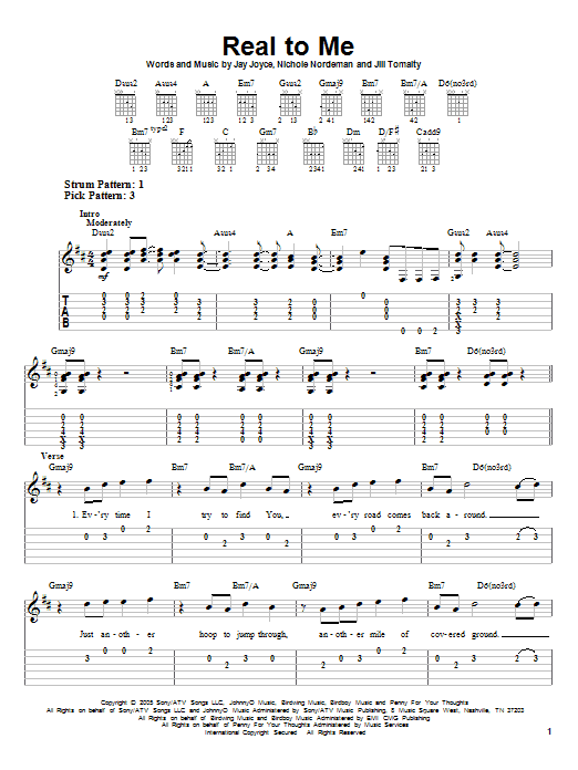 Real To Me Sheet Music