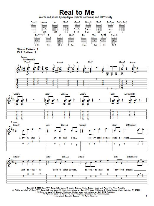 Tablature guitare Real To Me de Nichole Nordeman - Tablature guitare facile