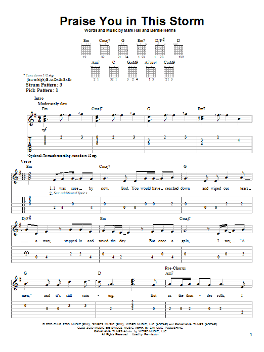 Praise You In This Storm Sheet Music