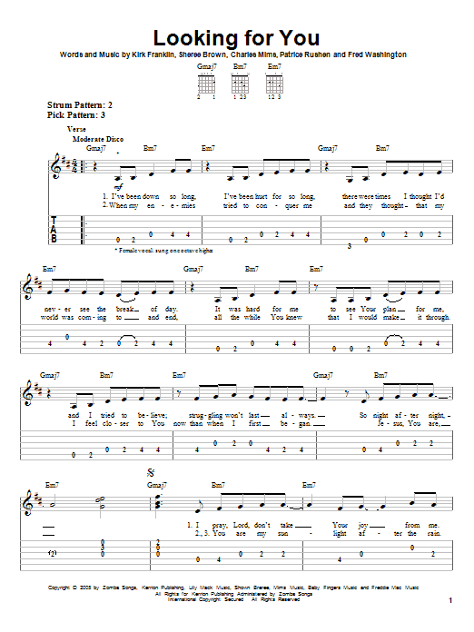 Tablature guitare Looking For You de Kirk Franklin - Tablature guitare facile