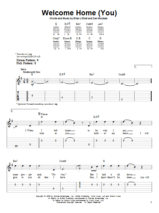 Welcome Home (You) Sheet Music