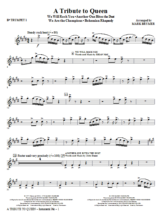 A Tribute To Queen (Medley) (complete set of parts) sheet music for orchestra/band (chamber ensemble) by Mark Brymer and Queen. Score Image Preview.