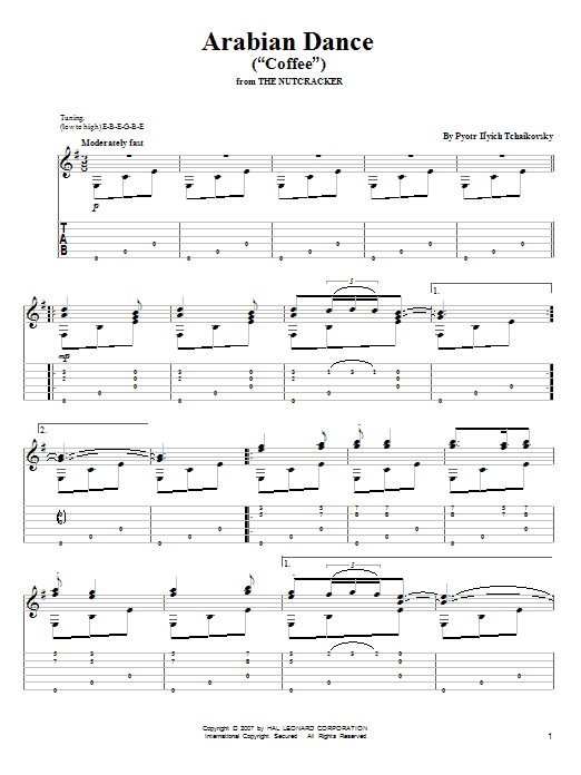 "Tablature guitare Arabian Dance (""Coffee"") de Pyotr Il'yich Tchaikovsky - Tablature Guitare"