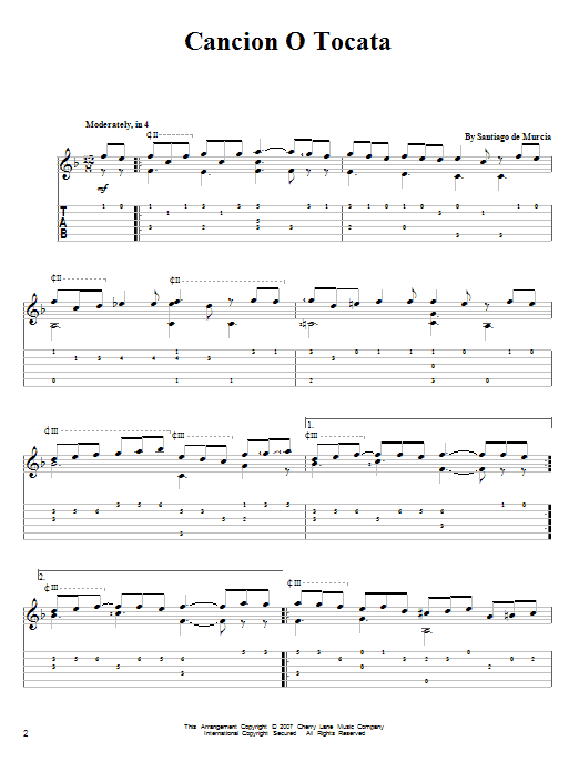 Cancion O Tocata Sheet Music