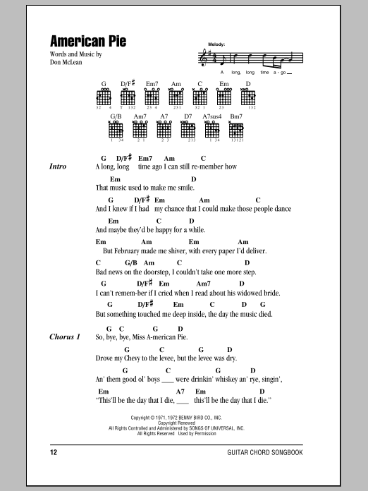 American Pie sheet music by Don McLean (Lyrics & Chords – 84021)