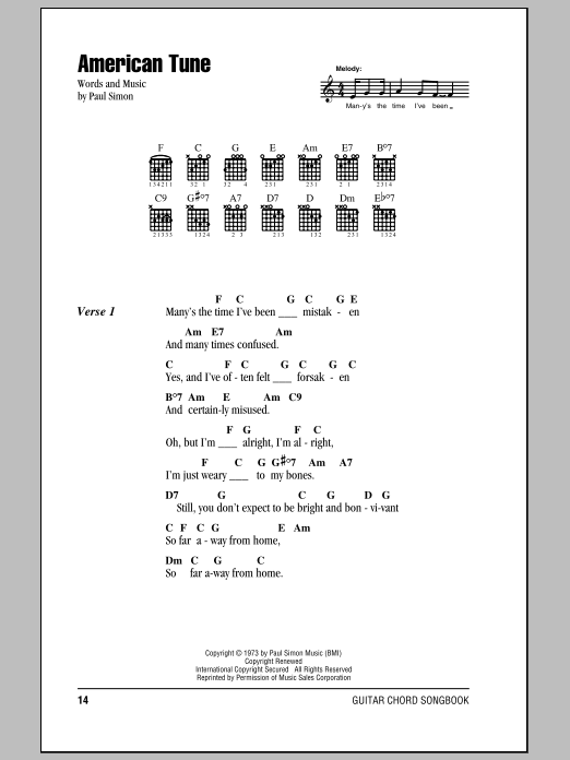 American Tune by Paul Simon - Guitar Chords/Lyrics - Guitar Instructor