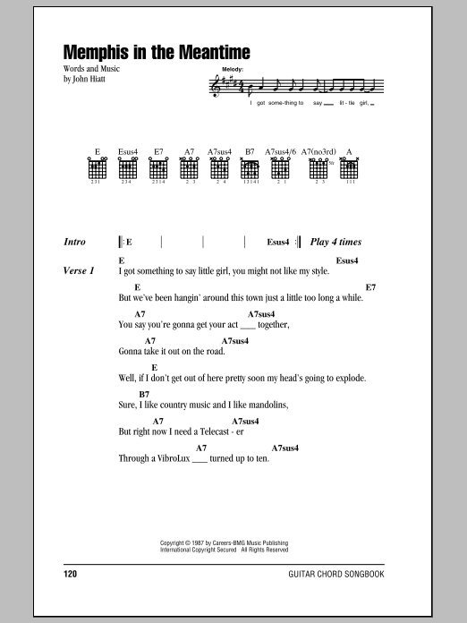Memphis In The Meantime Sheet Music