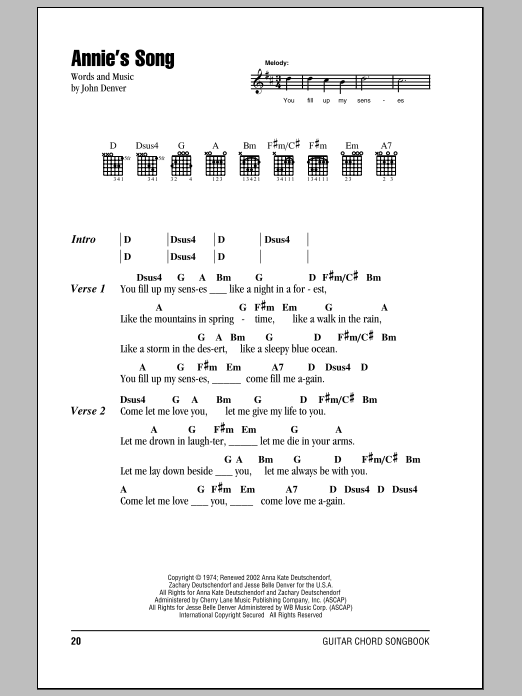 Annie\'s Song by John Denver - Guitar Chords/Lyrics - Guitar Instructor