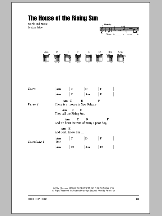 The House Of The Rising Sun Sheet Music
