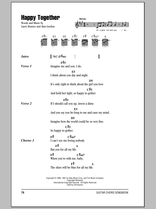 Happy Together (Guitar Chords/Lyrics)