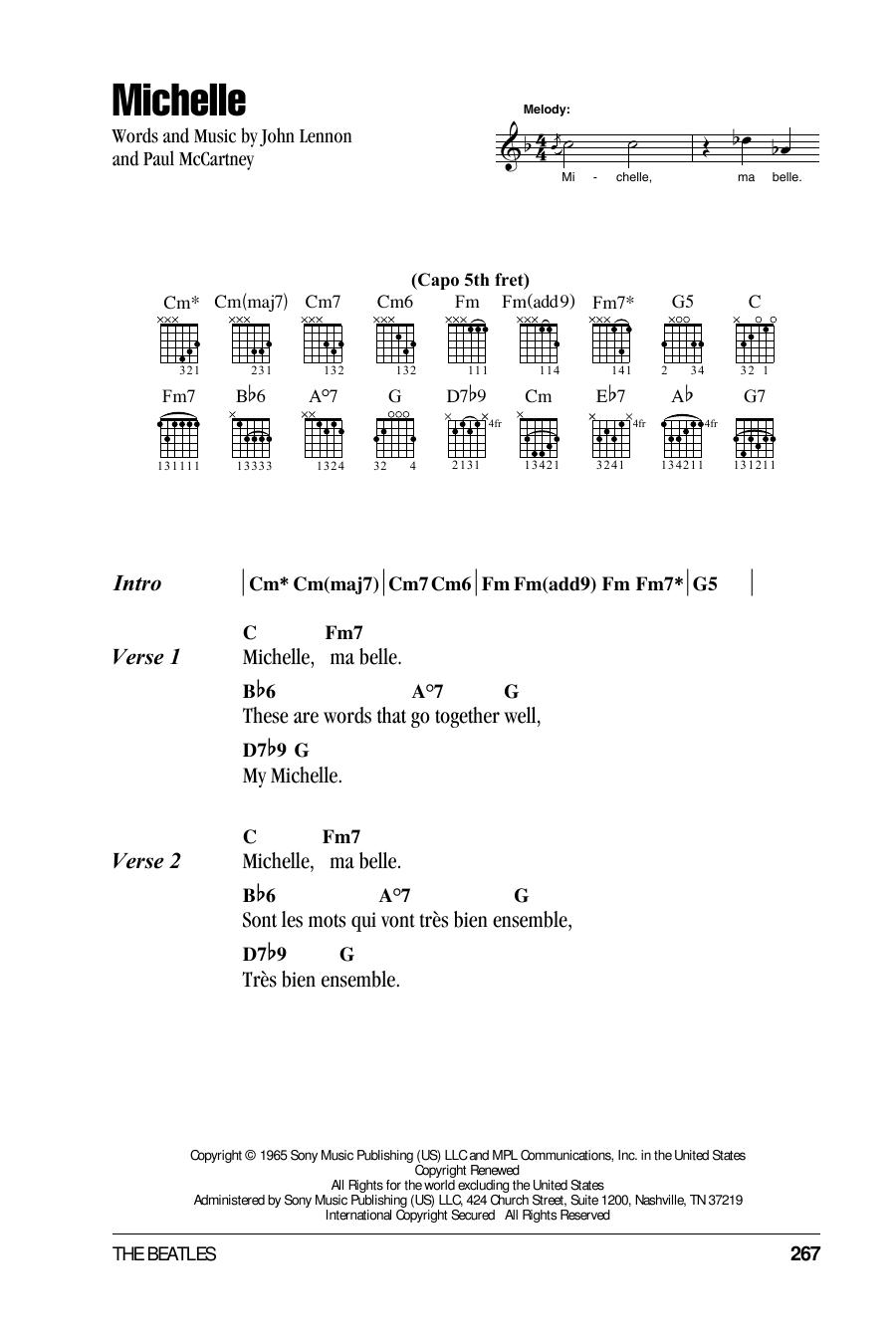 Michelle (Guitar Chords/Lyrics)