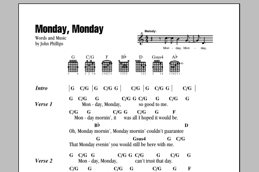 Monday, Monday Sheet Music