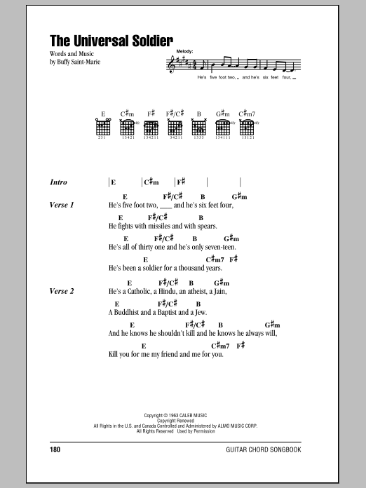 The Universal Soldier by Buffy Sainte-Marie - Guitar Chords/Lyrics ...