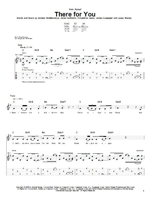 Tablature guitare There For You de Flyleaf - Tablature Guitare