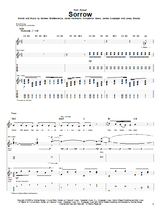 Sorrow Sheet Music