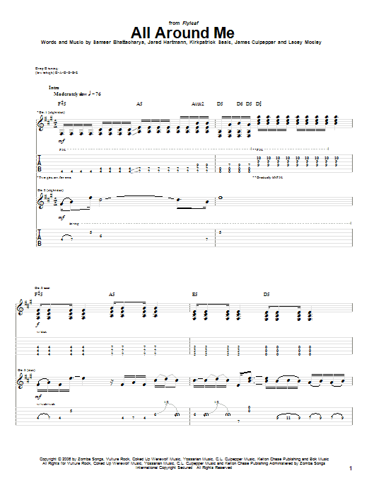 Tablature guitare All Around Me de Flyleaf - Tablature Guitare