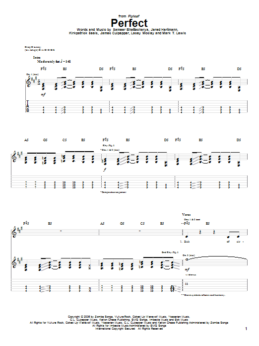 Tablature guitare Perfect de Flyleaf - Tablature Guitare