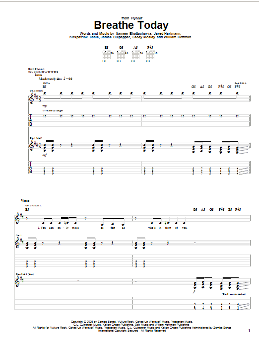 Tablature guitare Breathe Today de Flyleaf - Tablature Guitare