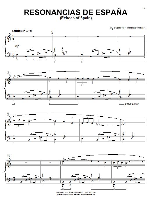 Partition piano Resonancias De Espana (Echoes Of Spain) de Eugenie Rocherolle - Piano Solo