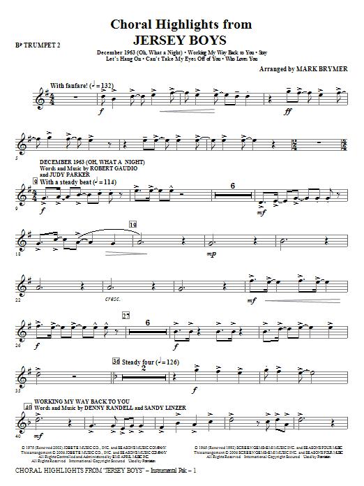 Jersey Boys (Choral Highlights) - Bb Trumpet 2 Sheet Music
