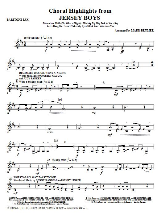 Jersey Boys (Choral Highlights) - Baritone Sax Sheet Music
