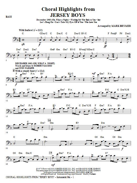 Jersey Boys (Choral Highlights) - Bass (Choir Instrumental Pak)