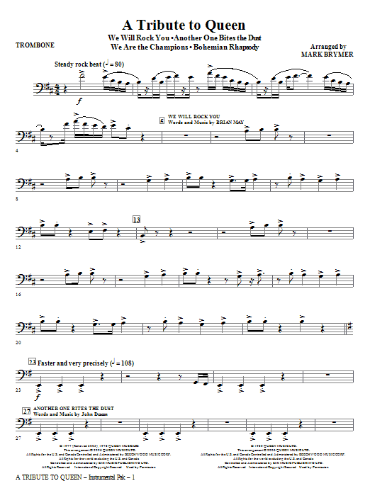 A Tribute To Queen (Medley) - Trombone Sheet Music