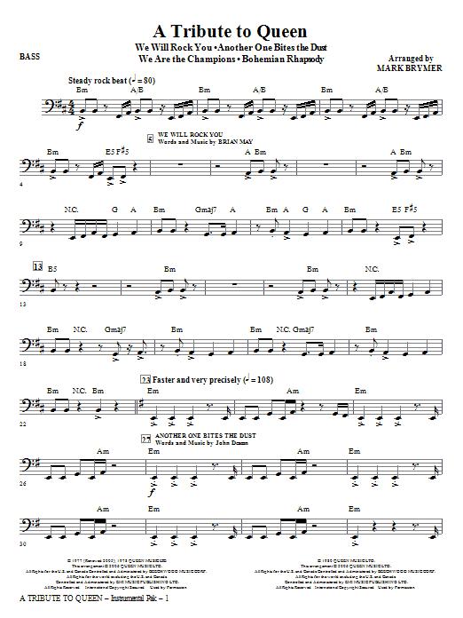 A Tribute To Queen Medley Bass Sheet Music Mark Brymer