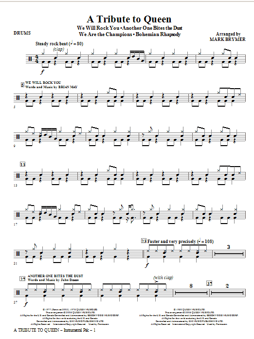 A Tribute To Queen (Medley) (arr. Mark Brymer) - Drums Sheet Music
