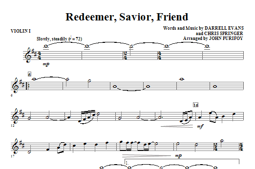 Redeemer, Savior, Friend - Violin 1 Sheet Music
