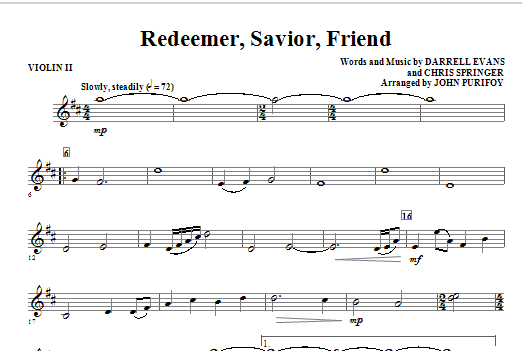 Redeemer, Savior, Friend - Violin 2 Sheet Music