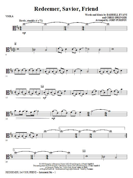 Redeemer, Savior, Friend - Viola (Choir Instrumental Pak)