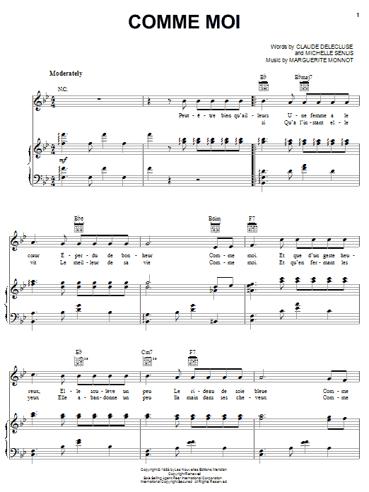 Comme Moi (Piano, Vocal & Guitar (Right-Hand Melody))