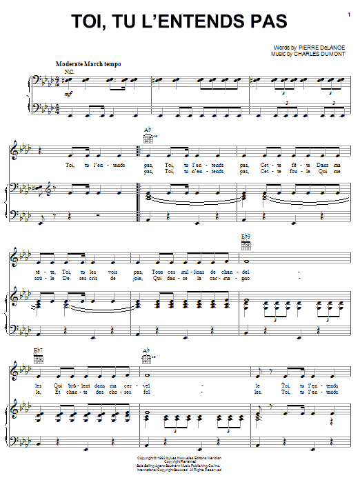 Toi, Tu L'entends Pas (Piano, Vocal & Guitar (Right-Hand Melody))