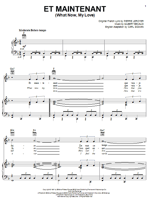 Et Maintenant (What Now My Love) Sheet Music