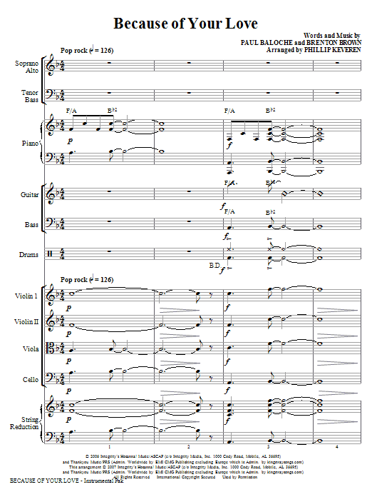 Because Of Your Love - Full Score Sheet Music