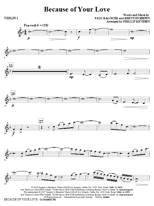 Because Of Your Love - Violin 1 Sheet Music