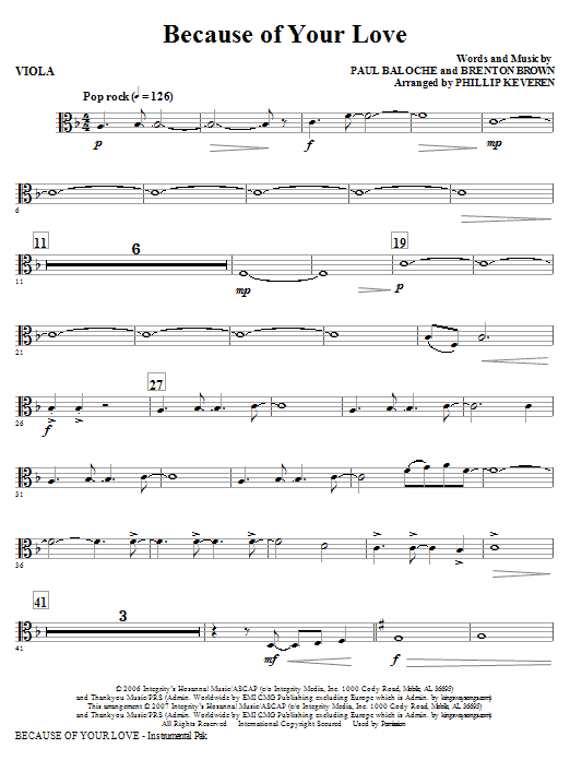 Because Of Your Love - Viola Sheet Music