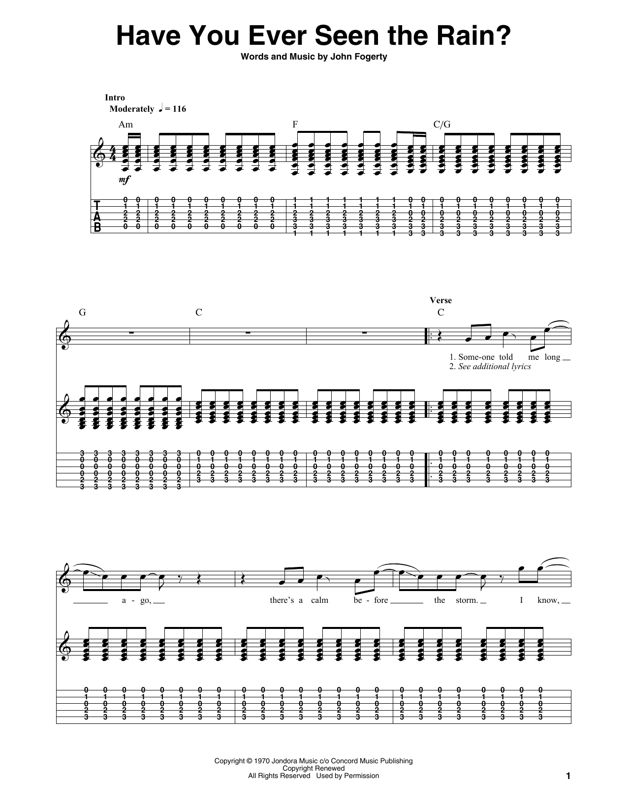 Have You Ever Seen The Rain? Sheet Music | Creedence Clearwater ...