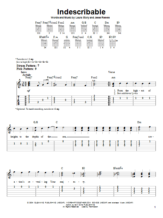 Indescribable by Chris Tomlin - Easy Guitar Tab - Guitar Instructor