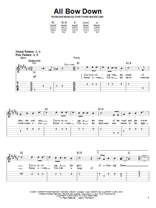 All Bow Down (Easy Guitar Tab)