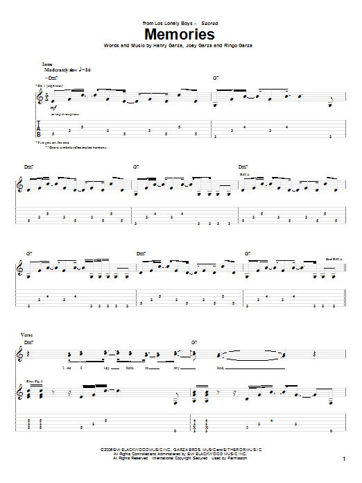 Tablature guitare Memories de Los Lonely Boys - Tablature Guitare