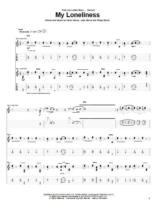 Tablature guitare My Loneliness de Los Lonely Boys - Tablature Guitare