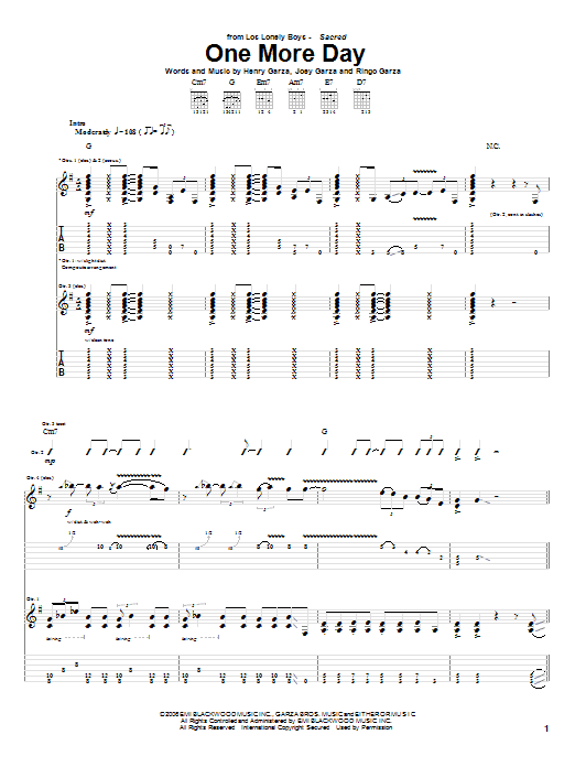 One More Day Sheet Music